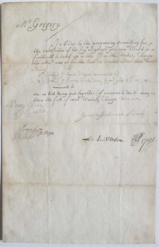 Letter Signed by Samuel Pepys