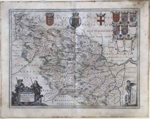 AN ORIGINAL BLAEU MAP OF THE WEST RIDING OF YORKSHIRE 1646