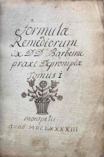 A C17th Manuscript Medicine: Charles Barbeyrac